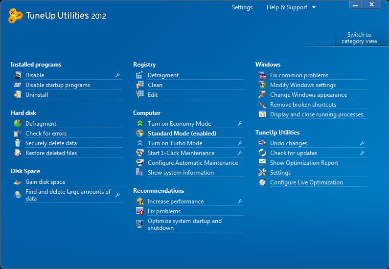 TuneUp Utilities 2012 all functions image