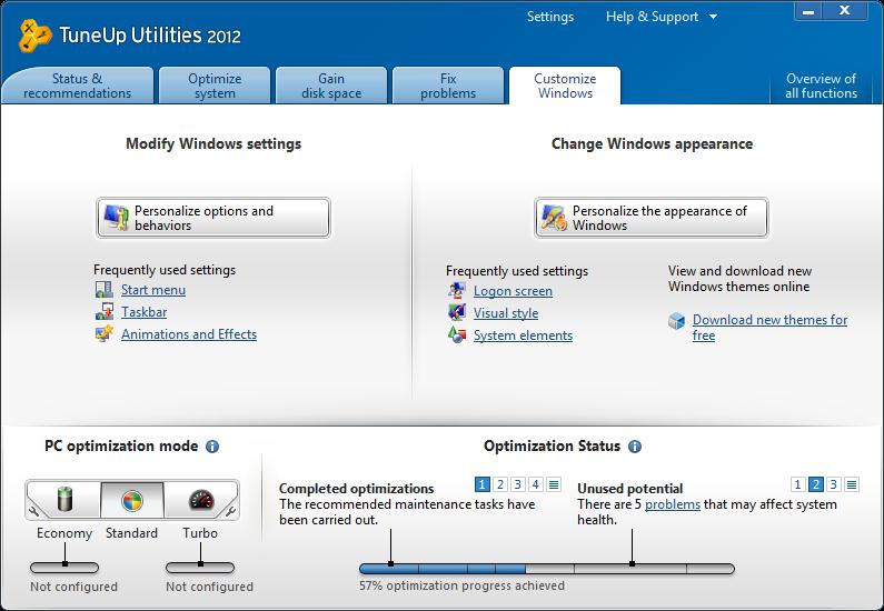 TuneUp Utilities 2012 customize windows tab image