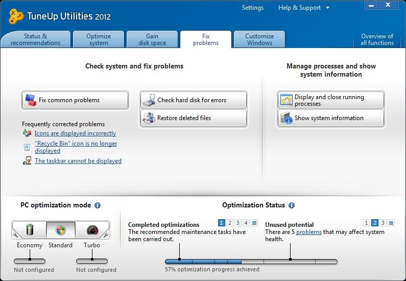 TuneUp Utilities 2012 fix problem tab image