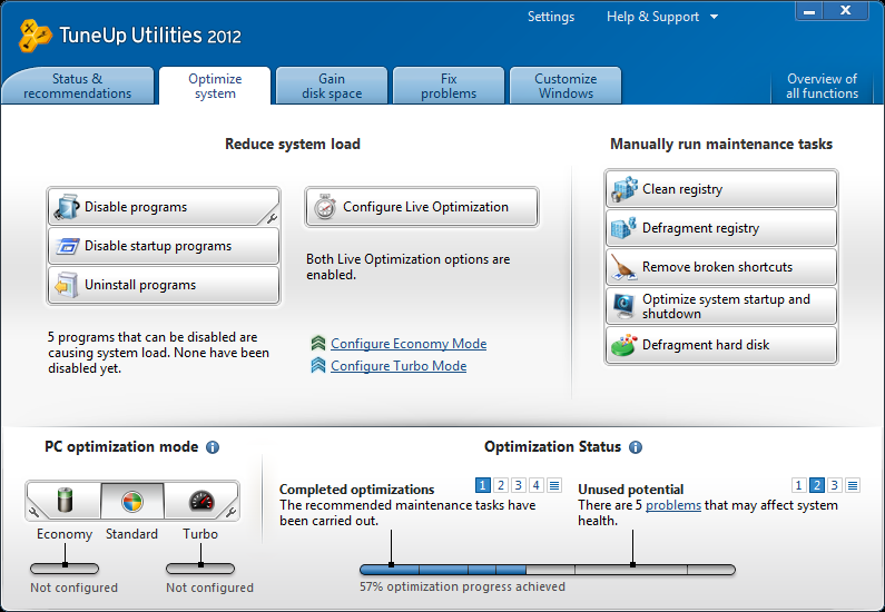 TuneUp Utilities 2012 optimize system tab image