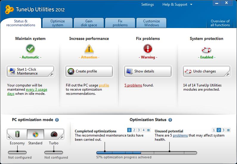 TuneUp Utilities 2012 status tab image