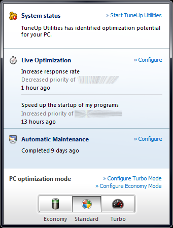 TuneUp Utilities 2012 system tray popup image